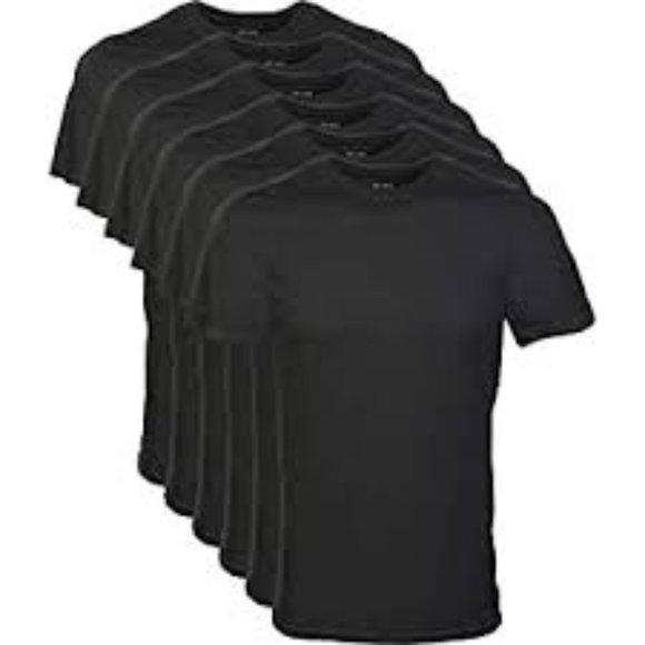 Gildan Men's Crew T-Shirt Multipack, Black 6 Pack